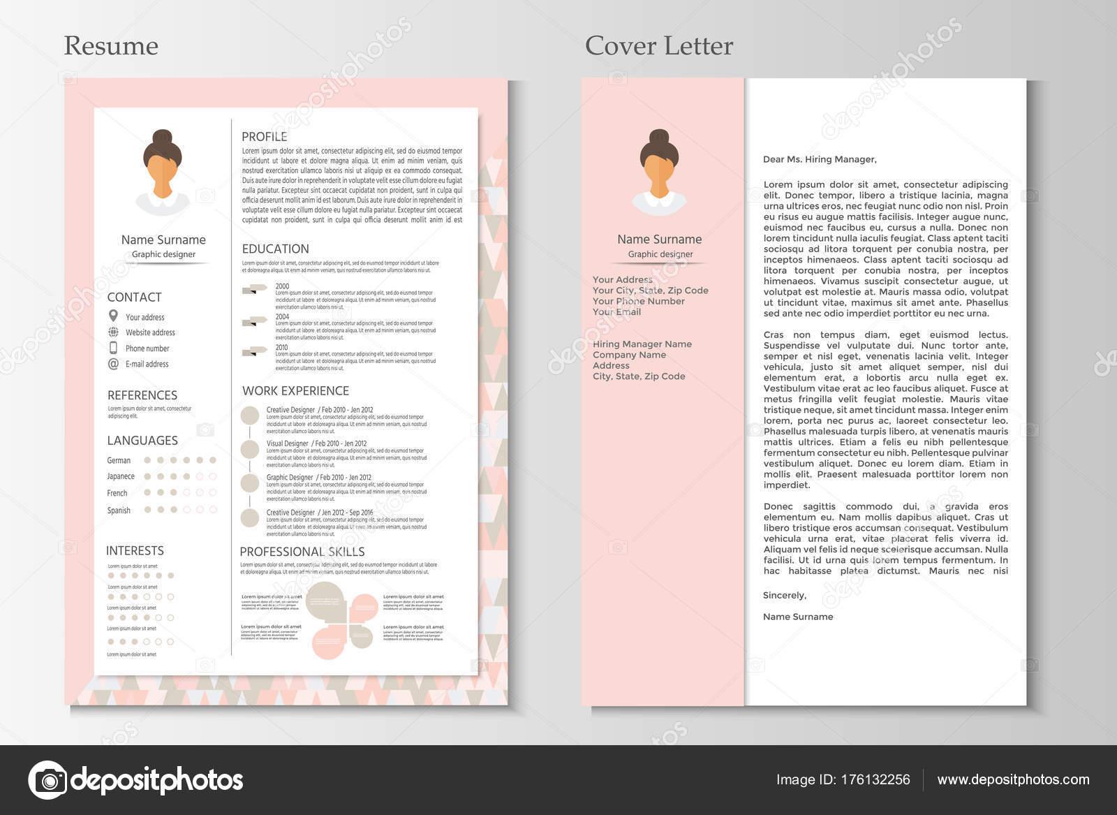 Femenino Curriculum Vitae Carta Presentacion Con Diseno Infografia