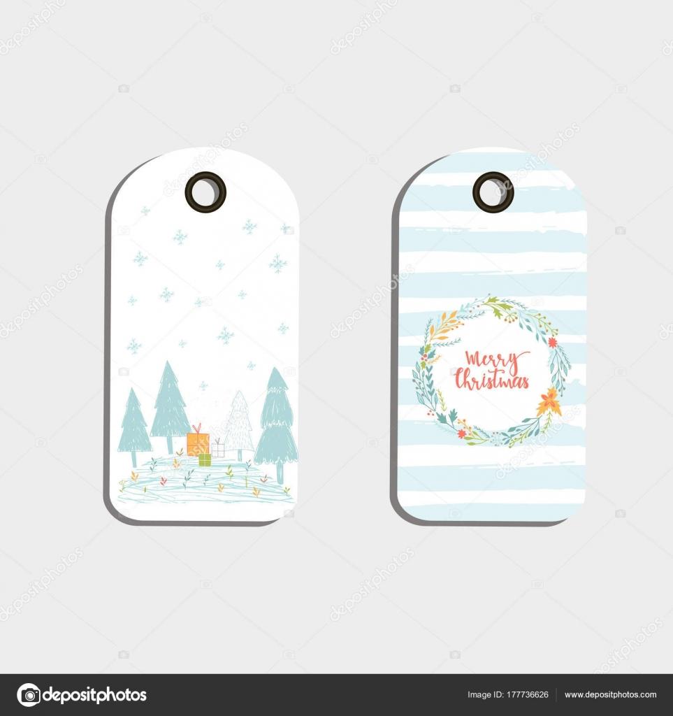 Conjunto Lindos Etiquetas Regalo Navidad Tarjetas Con Letras Feliz ...