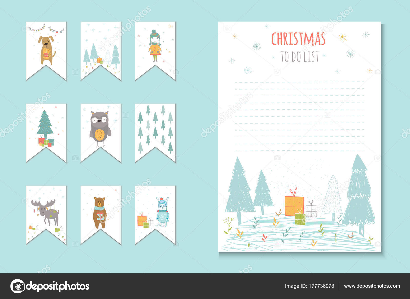 christmas holiday lists planner cute notes vector illustration template party stock vector
