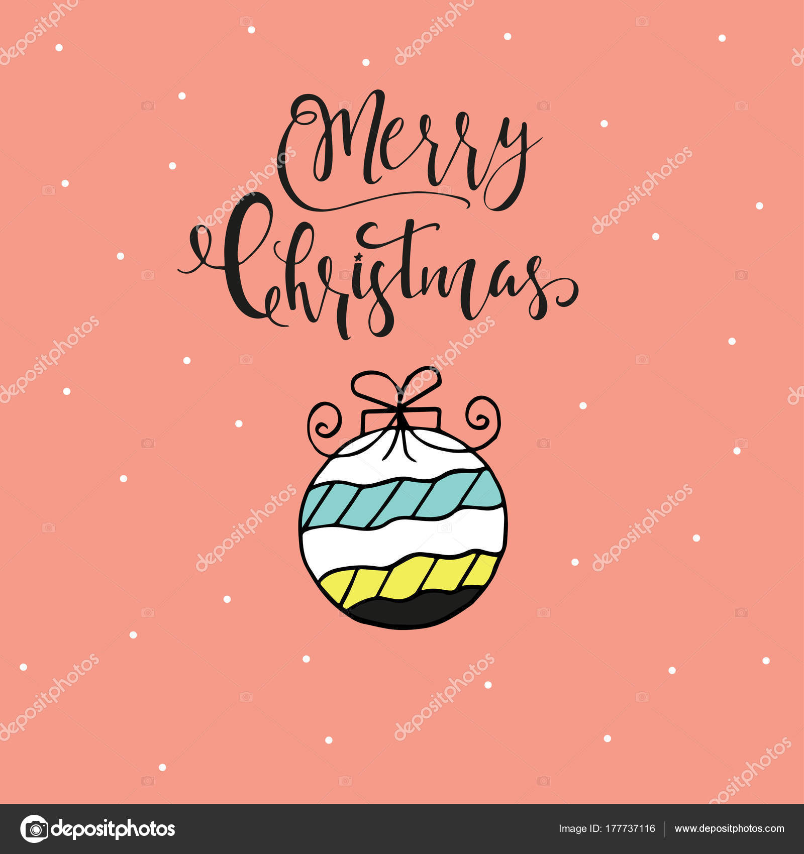 Merry Christmas Cute Greeting Card Hand Drawn Lettering Presents