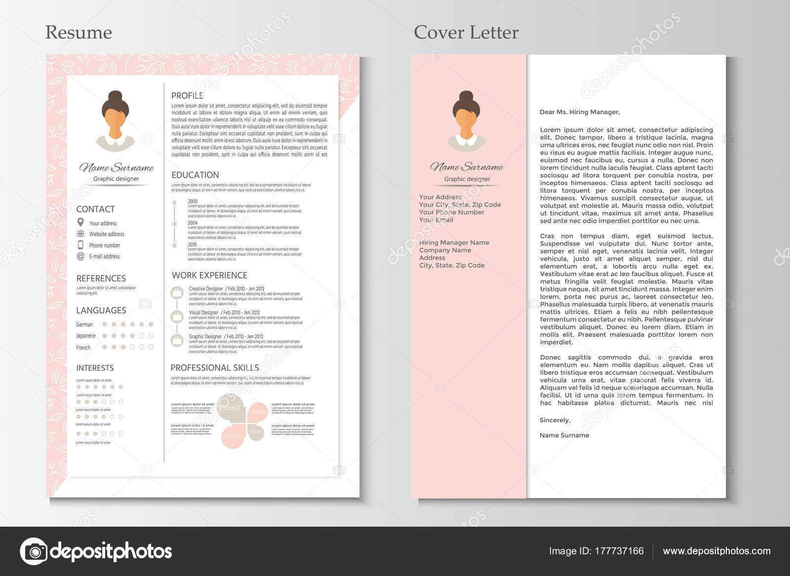Female Resume Cover Letter Infographic Design Stylish Set