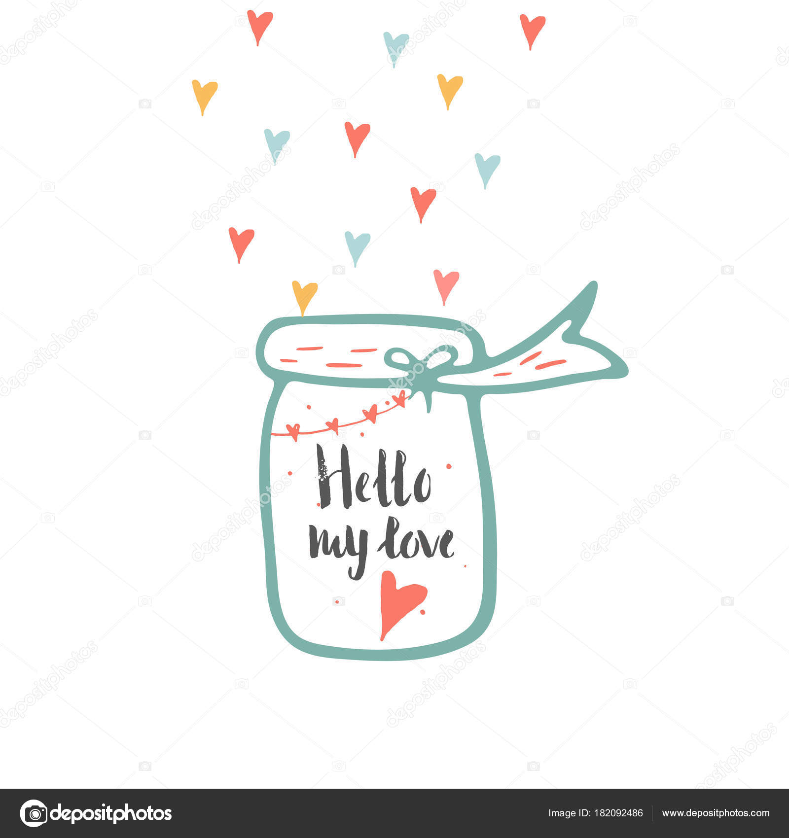 Lovely Valentines Day Gift Card Jar Hearts Lettering Love