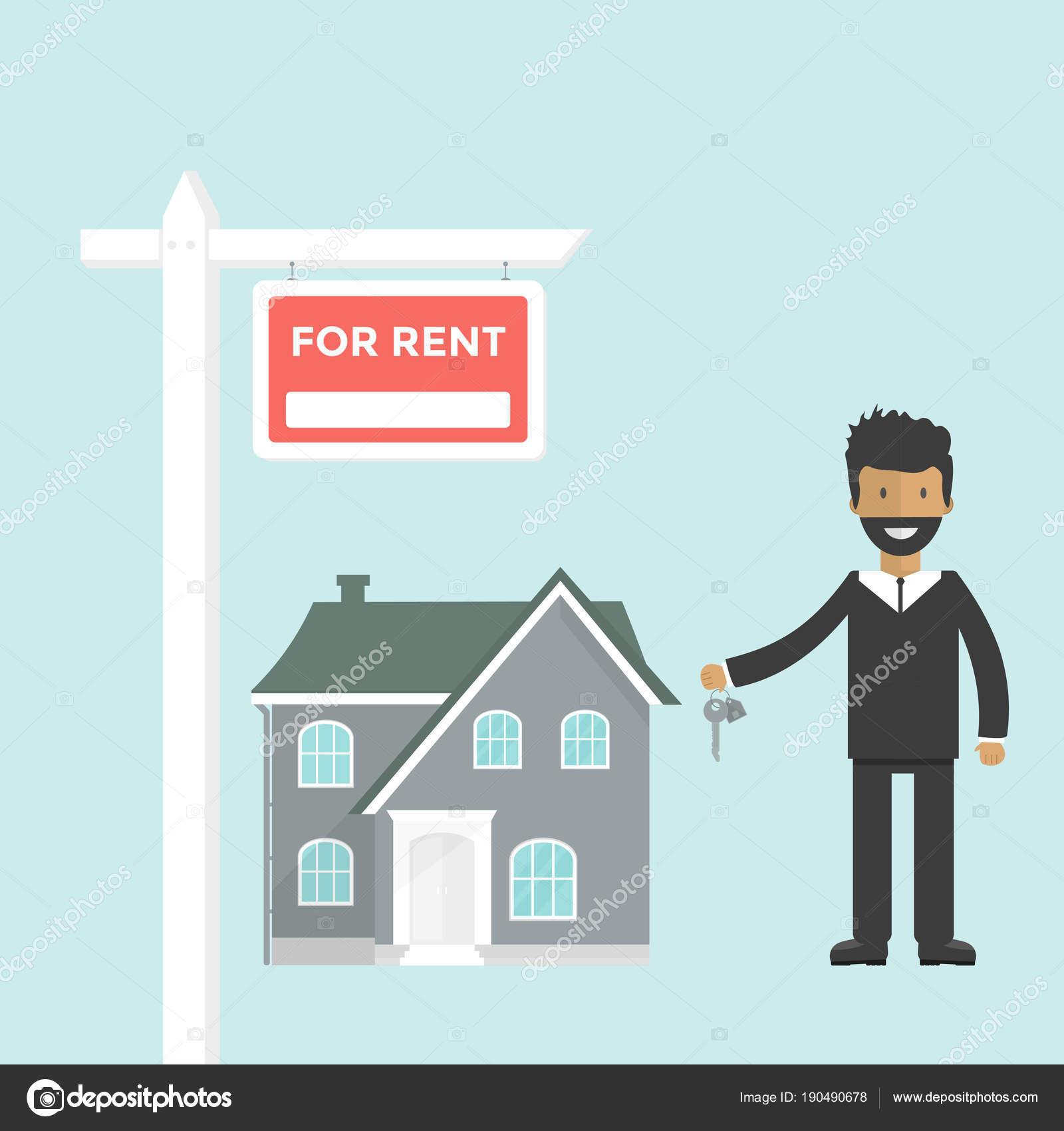 Banner Für Verkauf Werbung Haus Hütte Agent Mit Schlüsseln Angebot