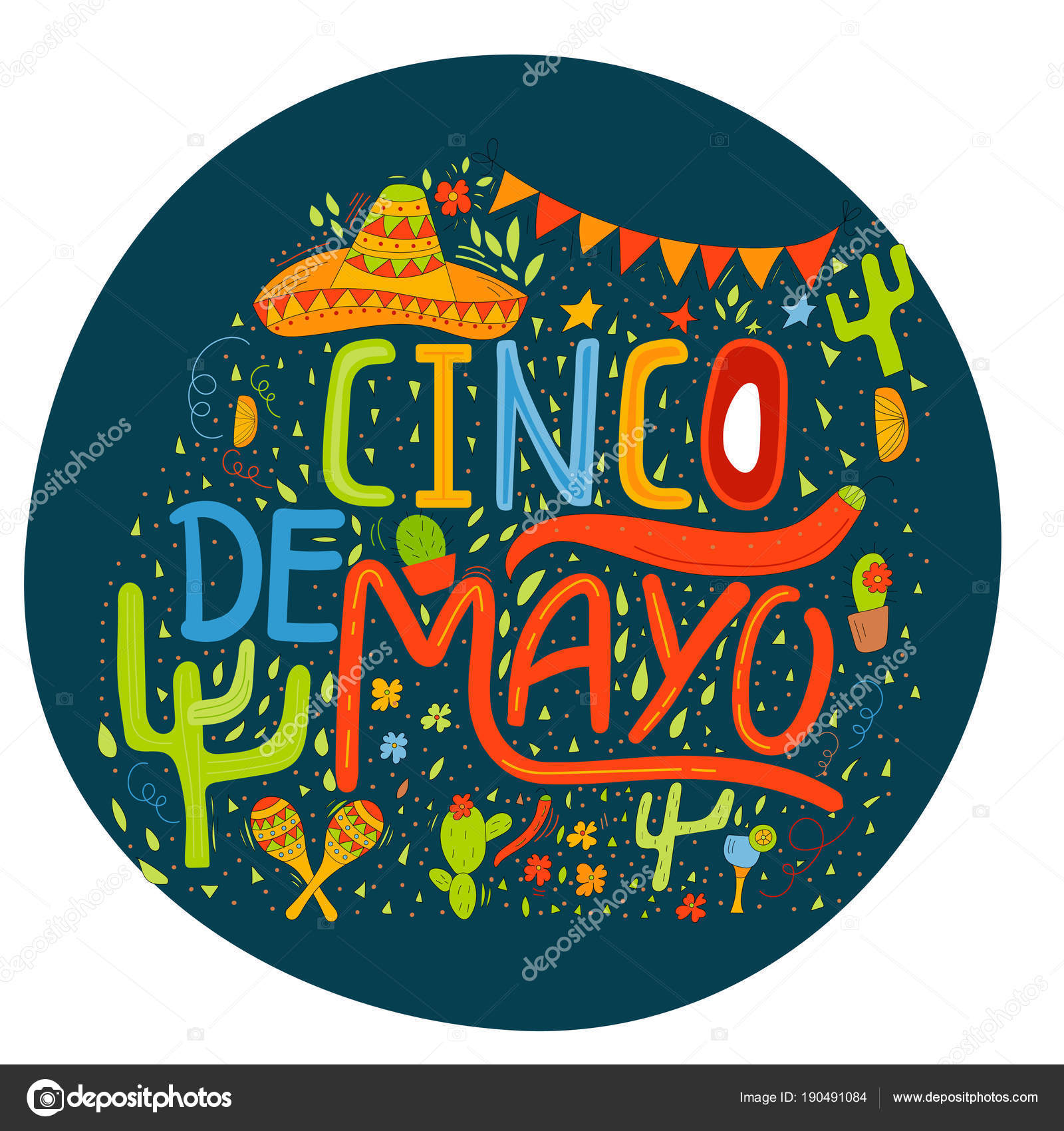 Banner Card Cinco Mayo Celebration Holiday Poster Hand Drawn