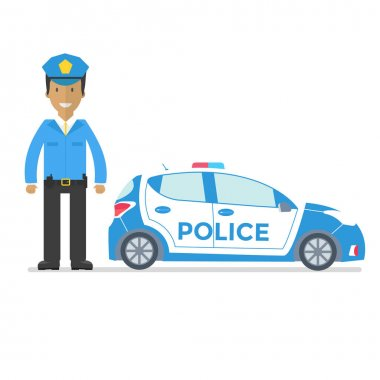 Side view of officer and police car isolated on white background