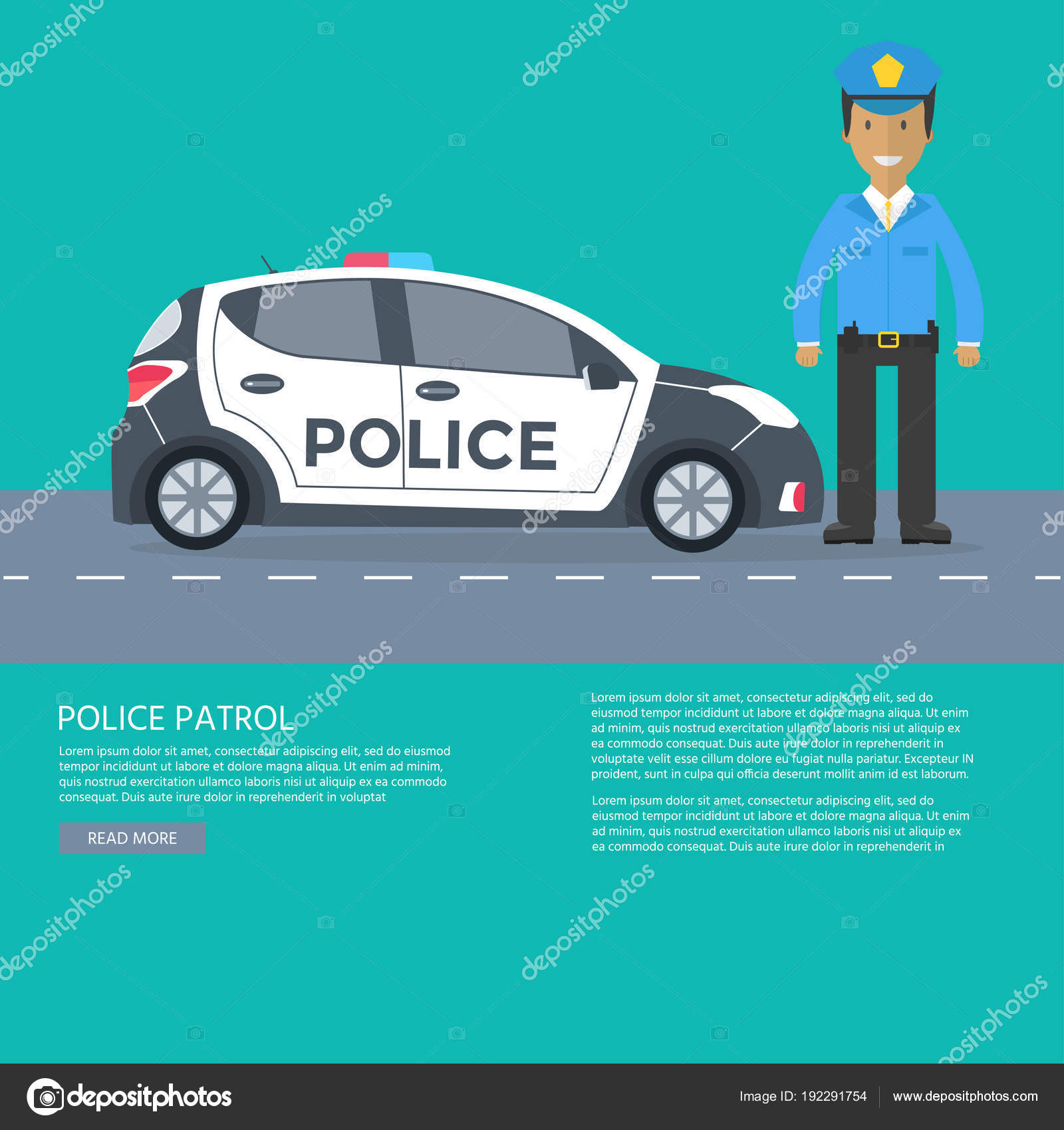 Policía Patrulla Una Carretera Con Coche Policía Oficial Casa ...
