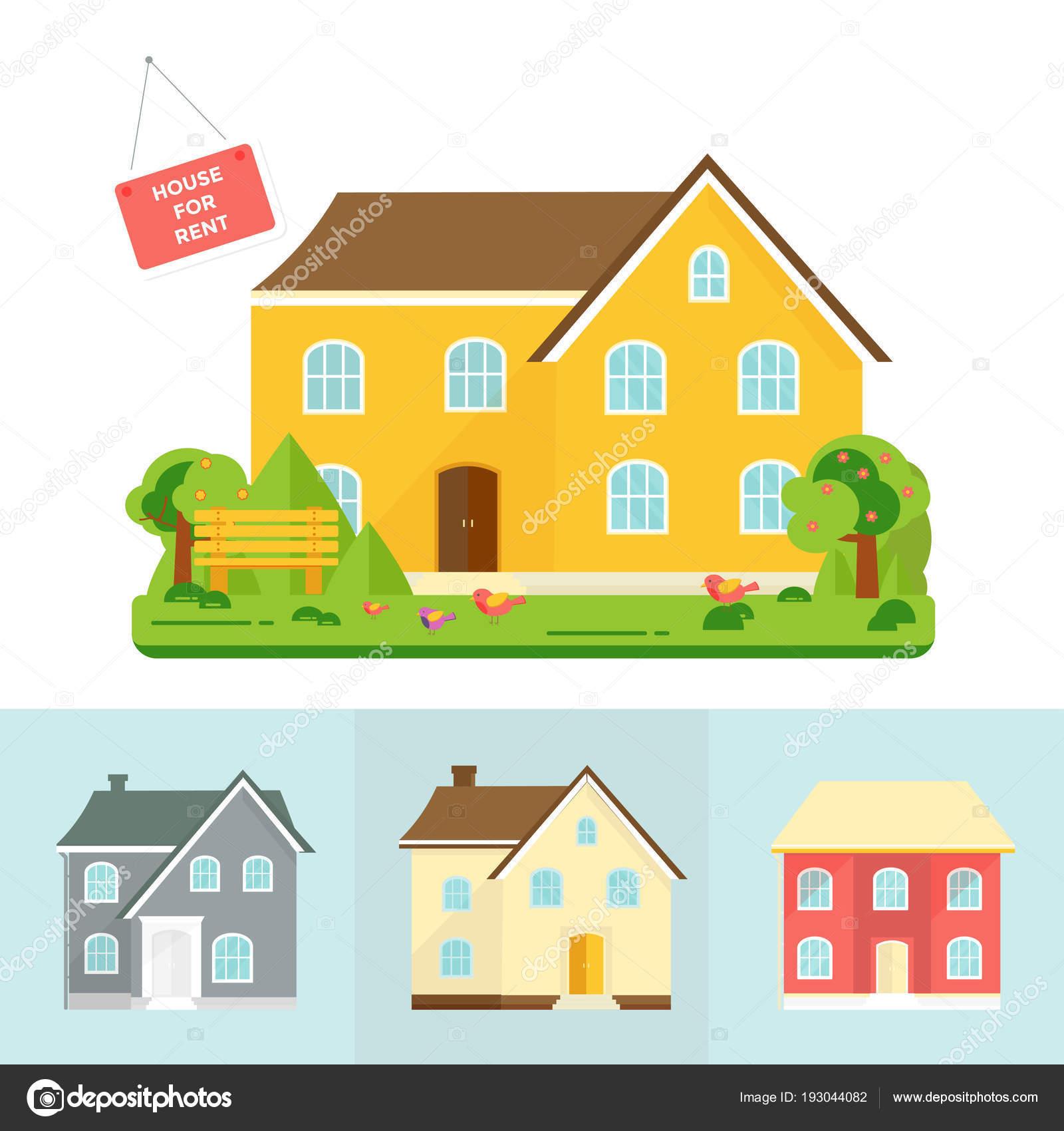 Banner Für Vertrieb Werbung Haus Hütte Mit Bäumen Angebot Der
