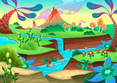 Funny prehistoric landscape with river and volcanoes