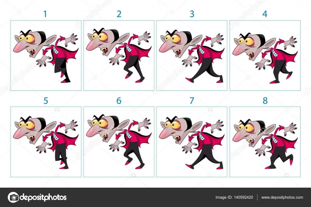 Animación de un personaje de dibujos animados Vampiros — Vector de ...