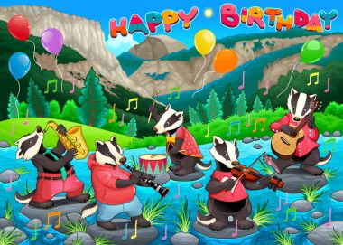 Happy Birthday card with funny badgers playing music