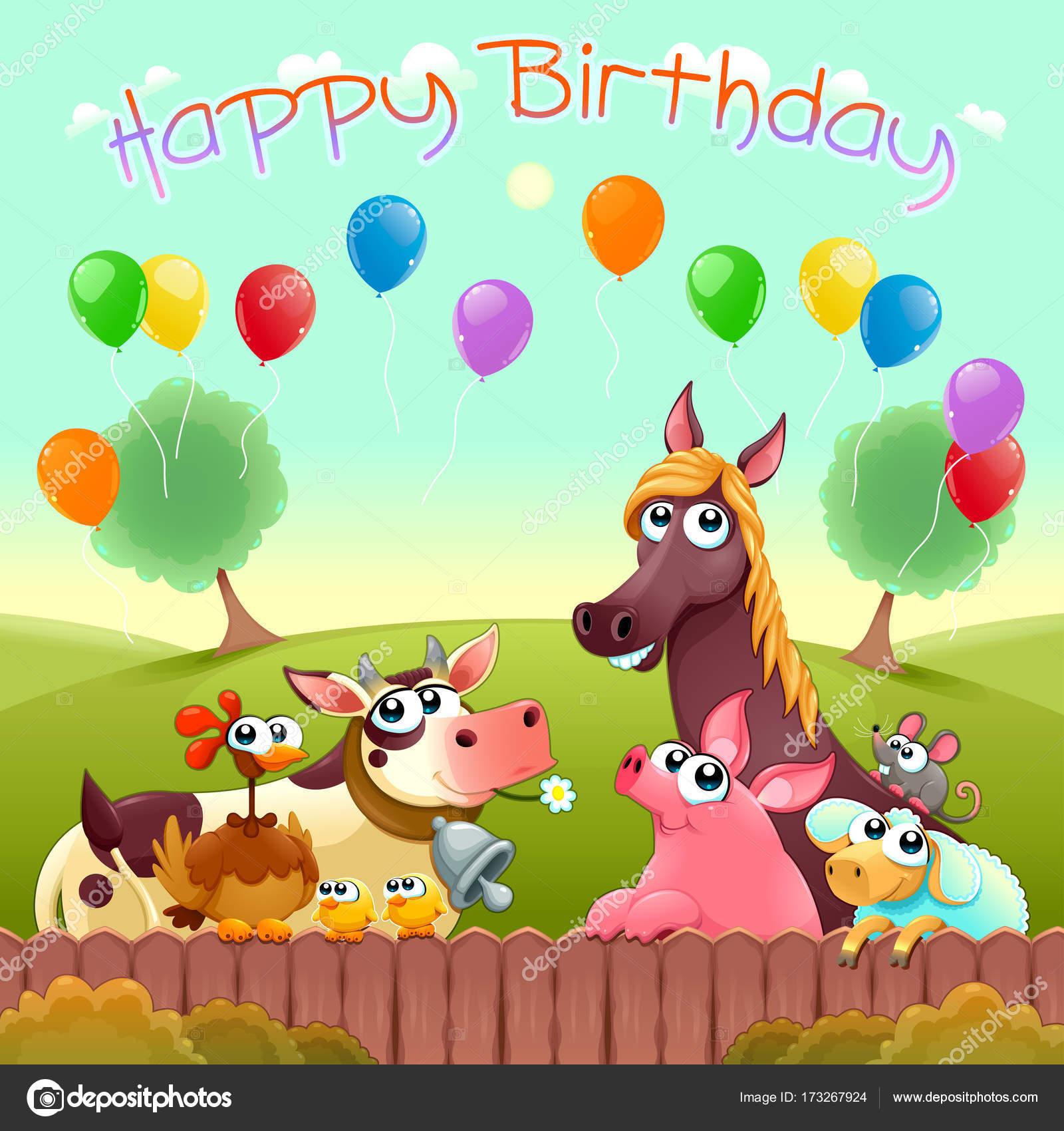 Scheda Di Buon Compleanno Con Animali Da Allevamento Svegli Nella