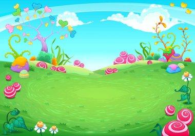 Landscape with fantasy natural elements