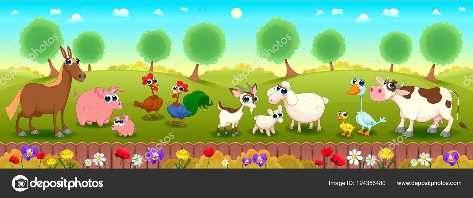 Gli animali della fattoria cartoni animati illustrazione