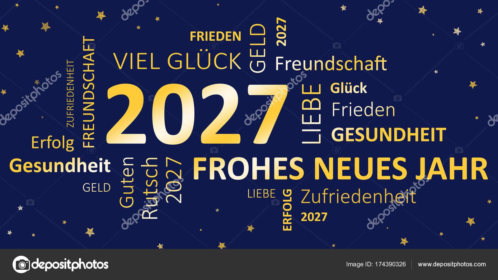 Silvester-Karte frohes neues Jahr und Wünsche — Stockfoto © JNaether ...