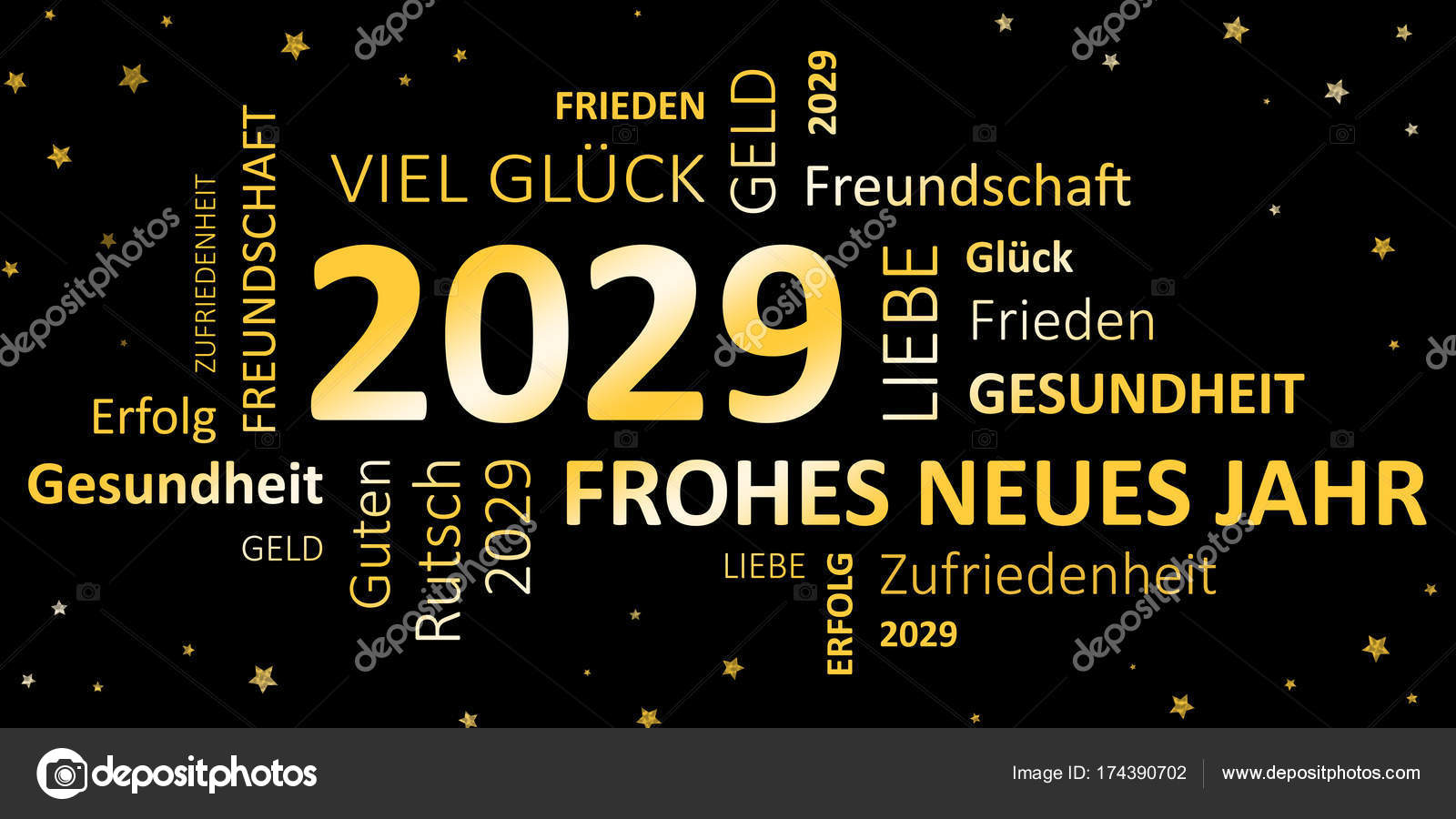 german new years card happy new year 2029 and wishes stock photo