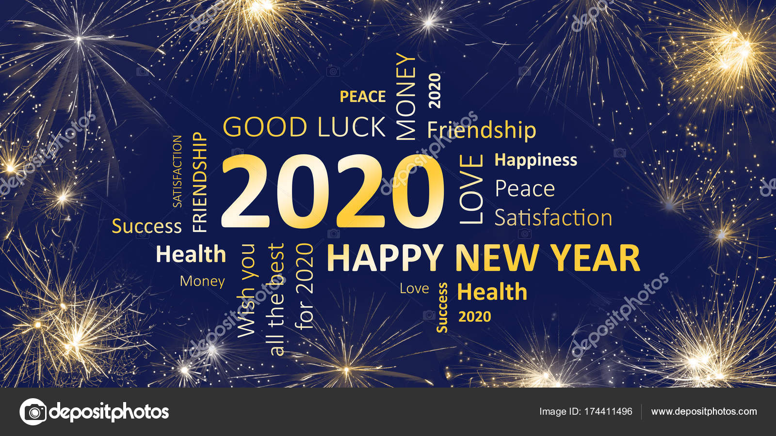 New Years Wishes 2020 New years card Happy new year 2020 and wishes — Stock Photo