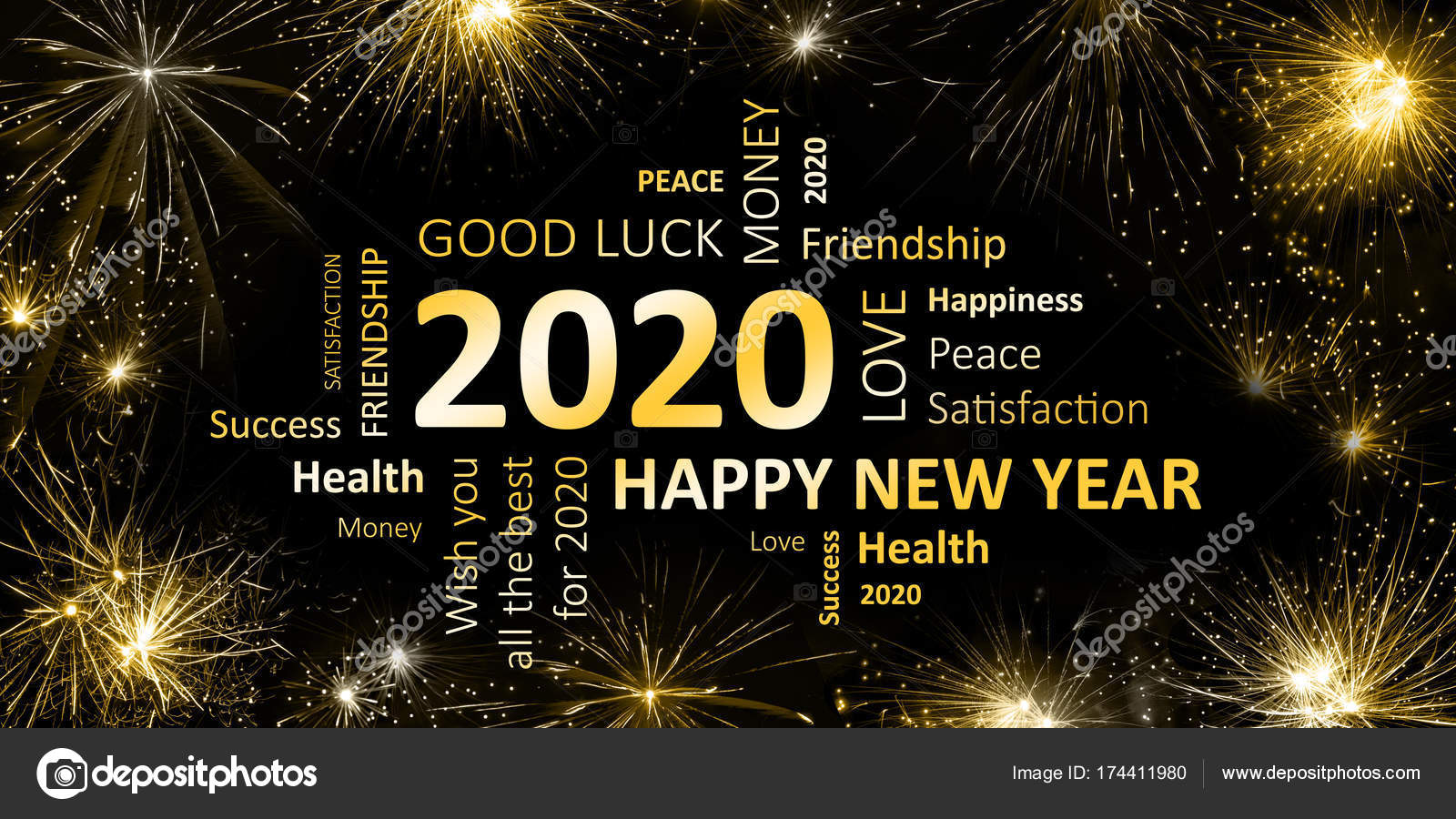 New Years Card Happy New Year 2020 And Wishes Stock Photo