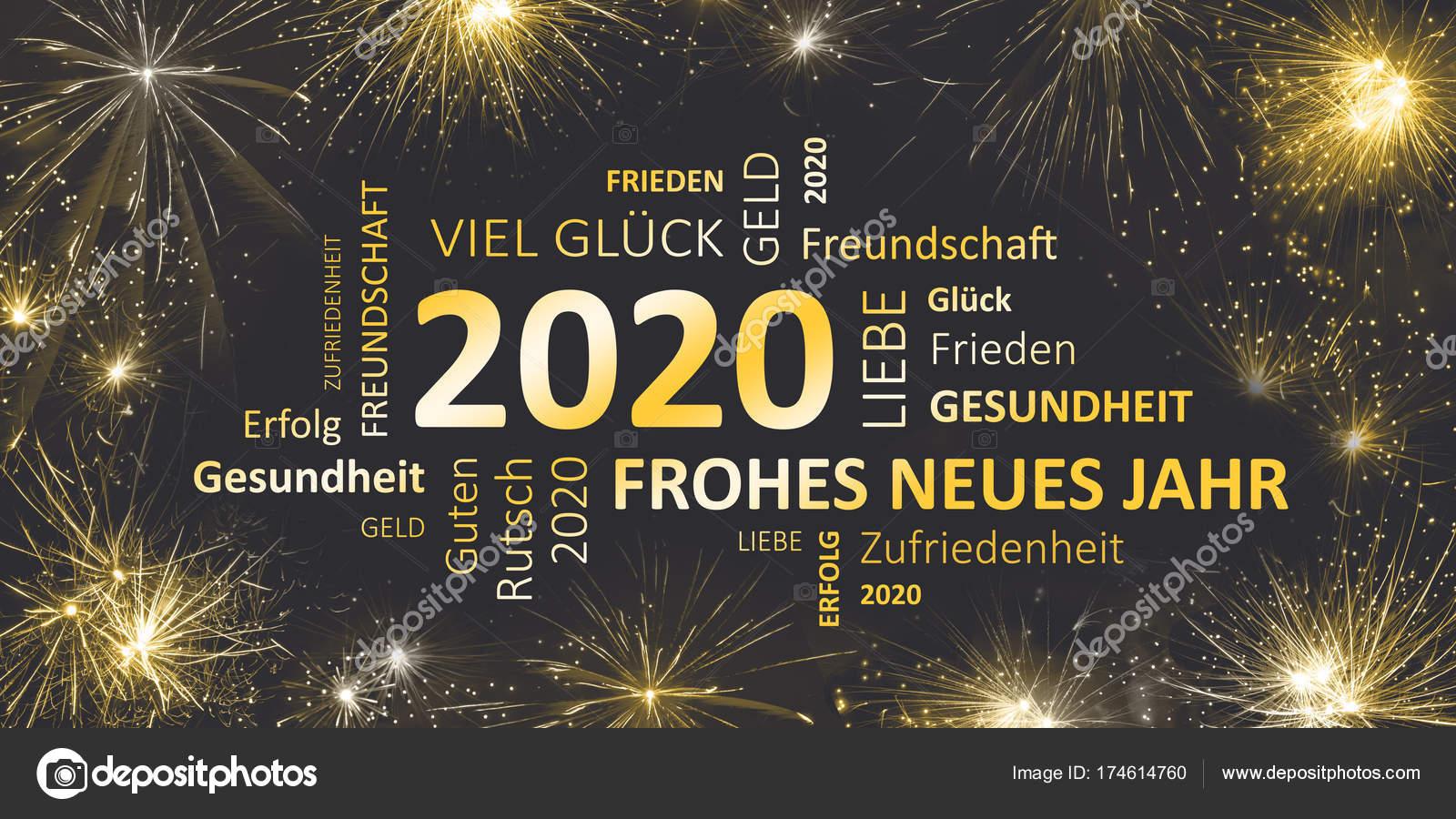 carte de voeux 2020 carte allemande pour le nouvel an 2020 — Photographie JNaether