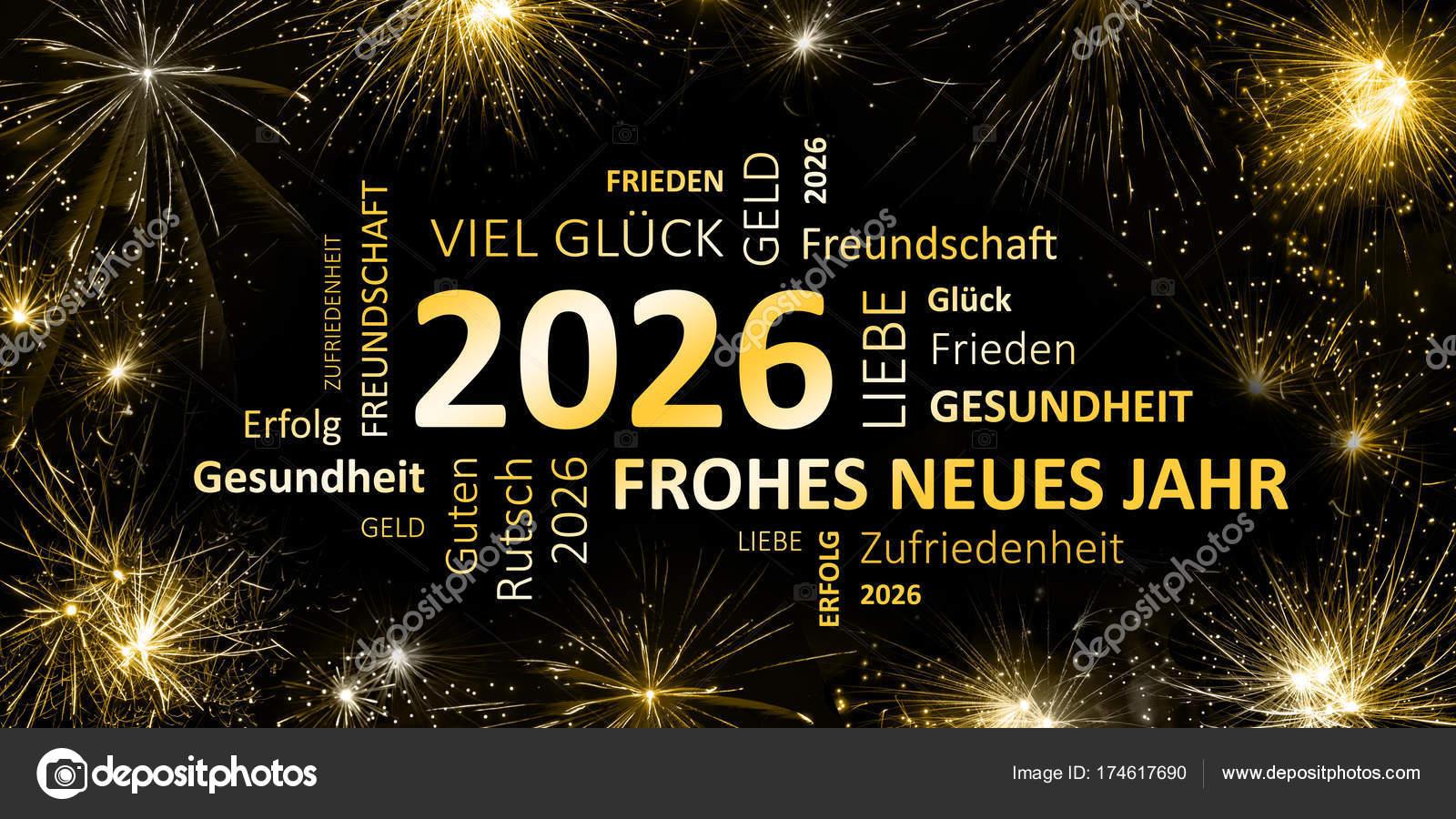 Duits Greeting Card Frohes Neues Jahr Gelukkig Nieuwjaar 2026