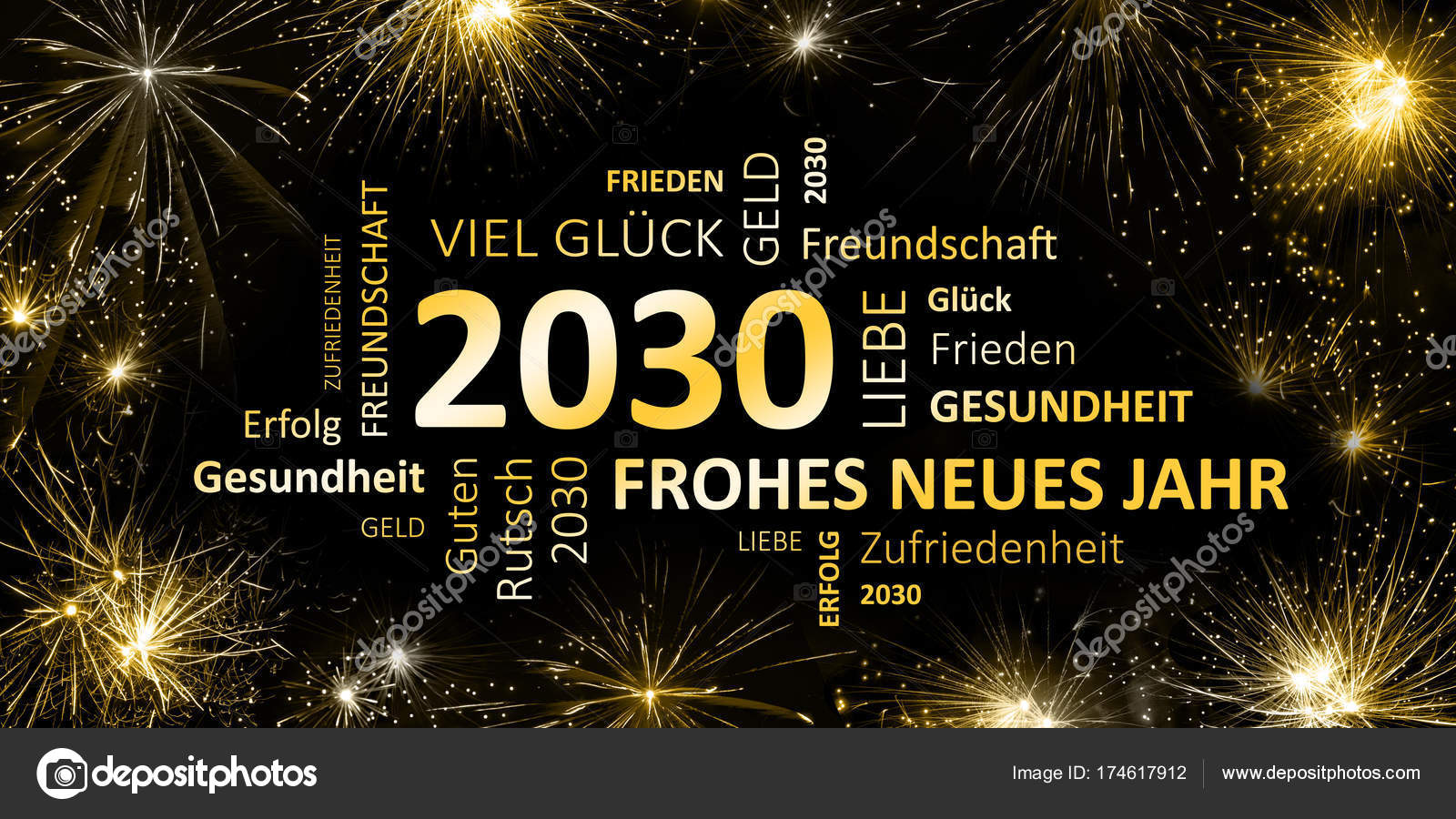 German Greeting Card Frohes Neues Jahr Happy New Year 2030