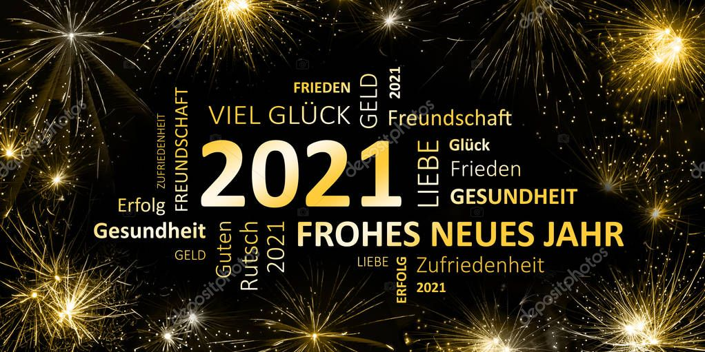 """German greeting card """" frohes neues jahr """" - """" happy new ..."""