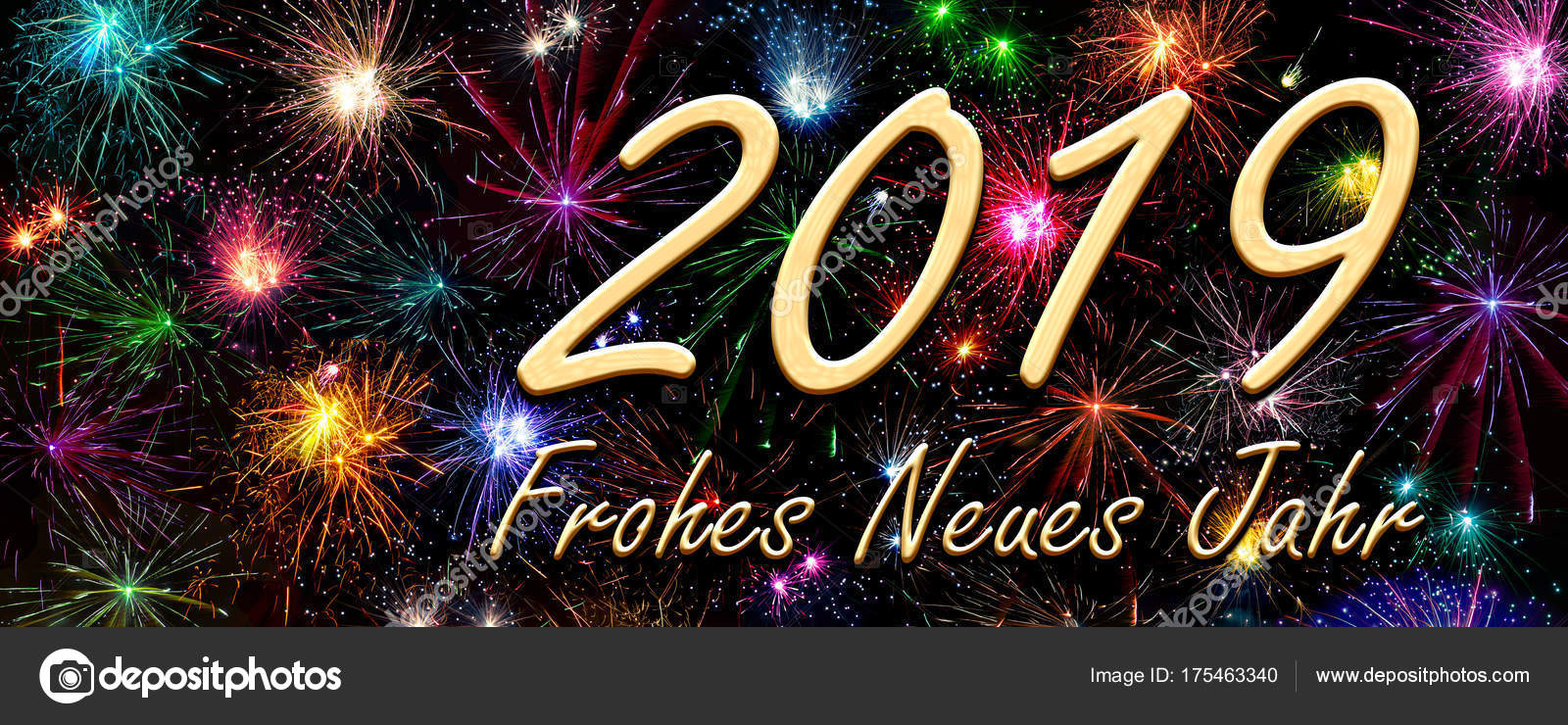 german wish happy new year 2019 stock photo