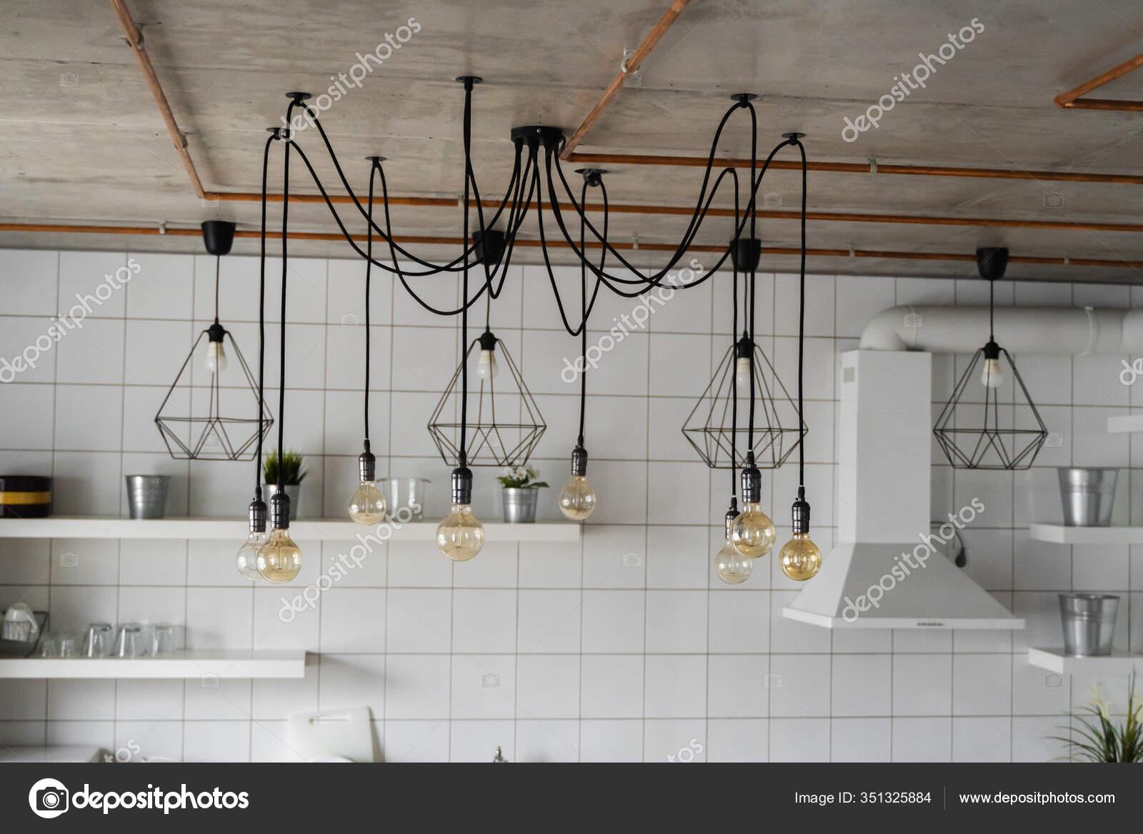 Lighting On A Modern Kitchen In Comfortable Apartment Vintage Luxury Interior Lighting Lamp As A Home Decor Stock Photo C Volodymyrshtun 351325884