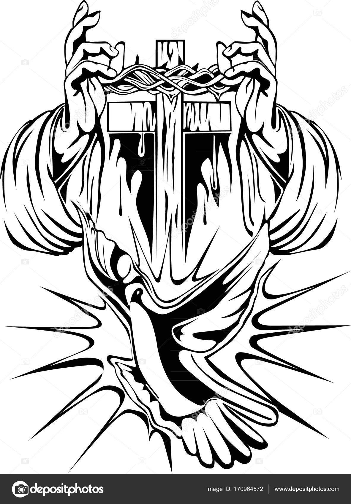 Tattoo Arm Cross Crown Thorns Dove Stock Vector Lnino 170964572