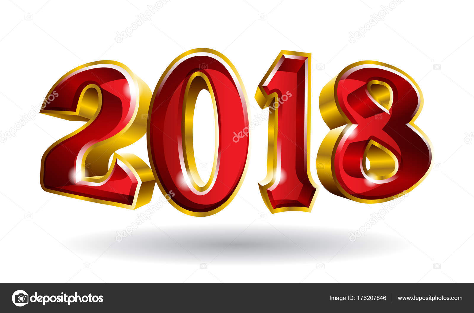 happy new year 2018 3d like vector gold text design with black blackground stock vector
