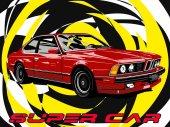 Fotografie Červená Coupe auto ikonu vektorové ilustrace