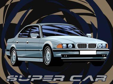 German car legend business class vector illustration