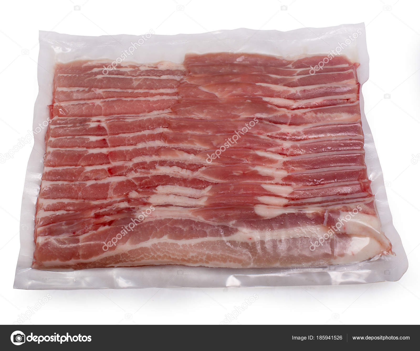 Pork Bacon Vacuum Packing Isolated White Background Stock Photo