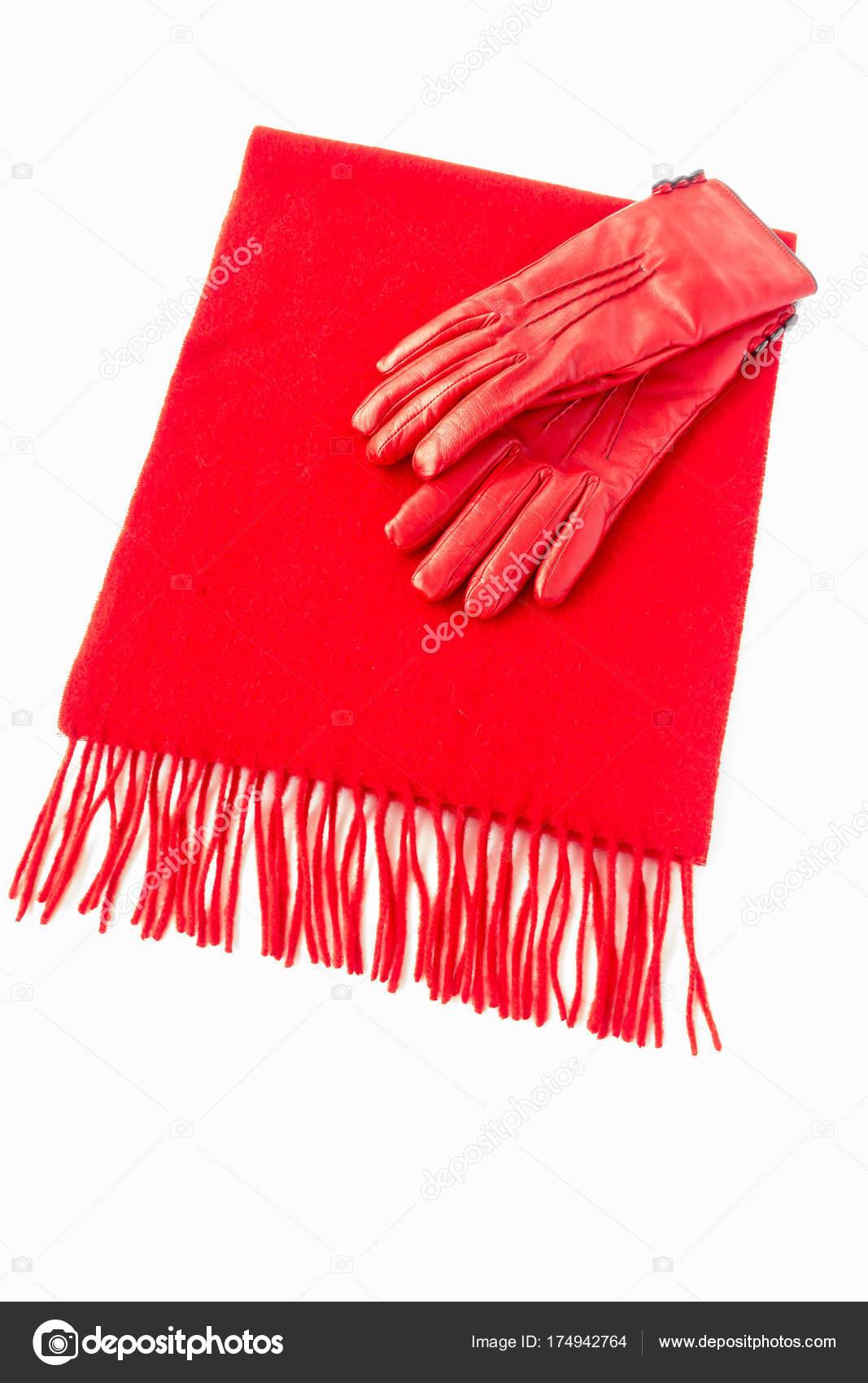 Luxusní červený kašmírový šátek z čisté kašmírové vlny a teplé kožené  rukavice 7abef17f46
