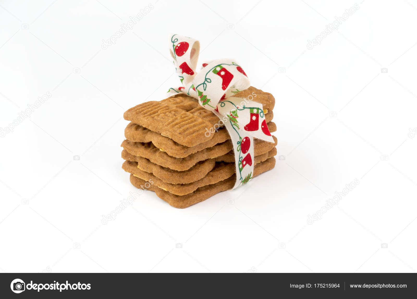 Stacked Spiced Biscuits With Almonds Spekulatius With Bow