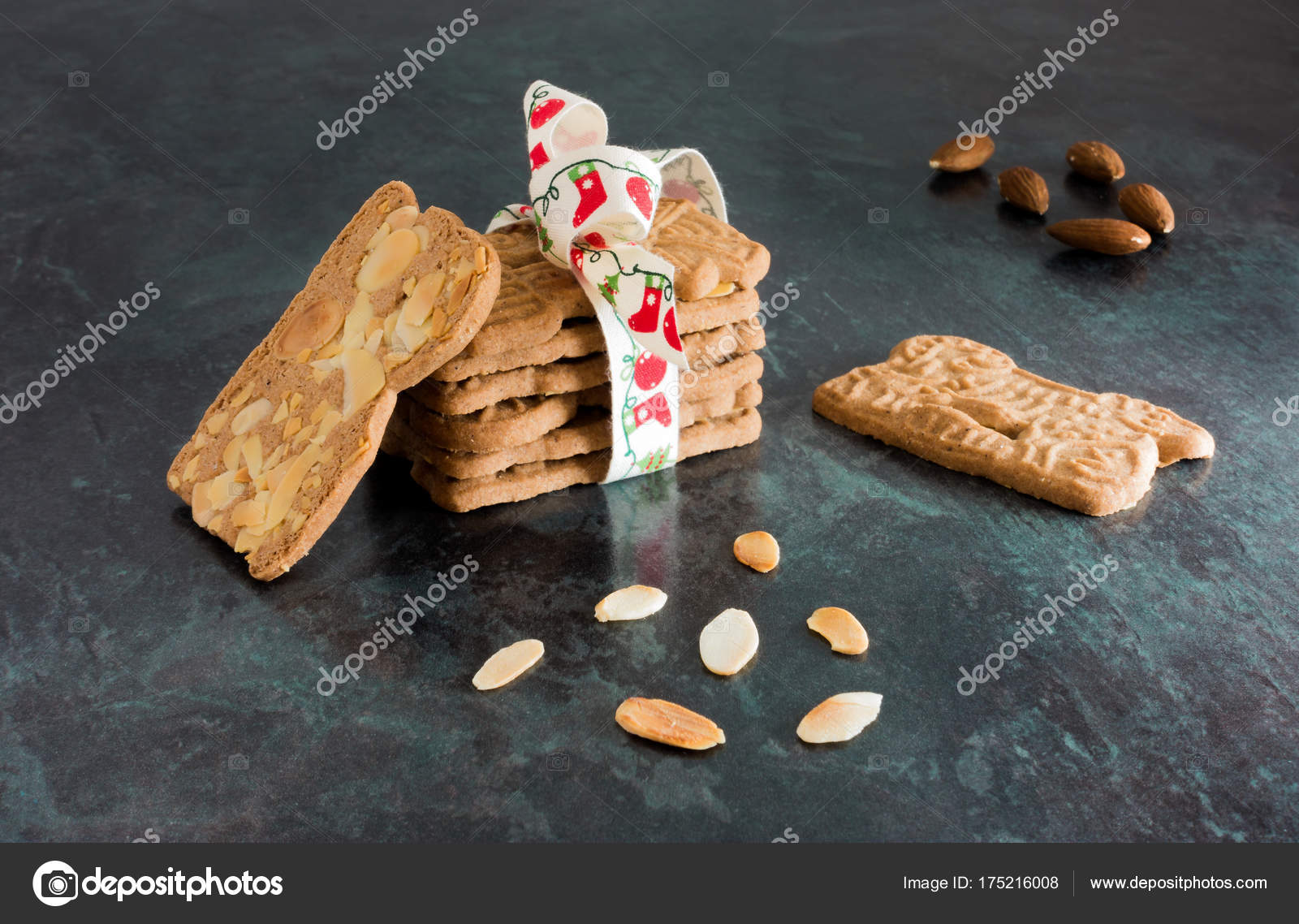 Stack Of Spiced Biscuits With Almonds Spekulatius On Black