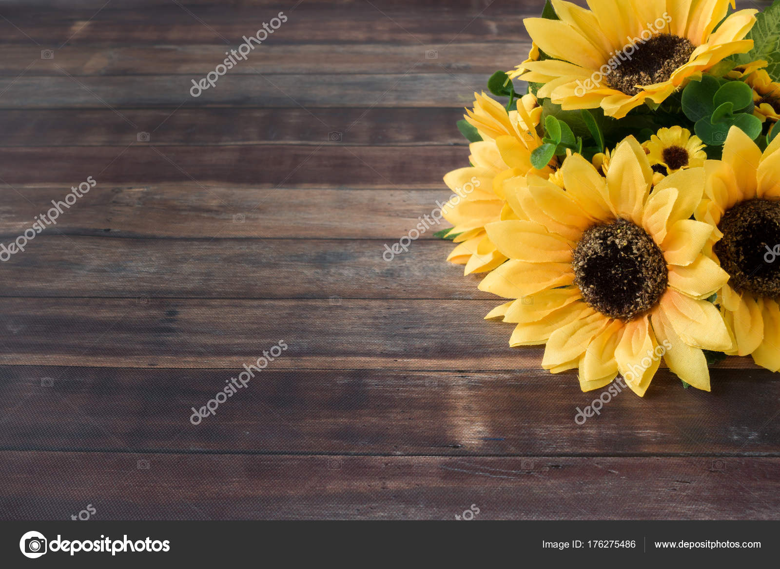 Sunflower Bouquet On Dark Brown Wooden Background Stock Photo C Tinasdreamworld 176275486