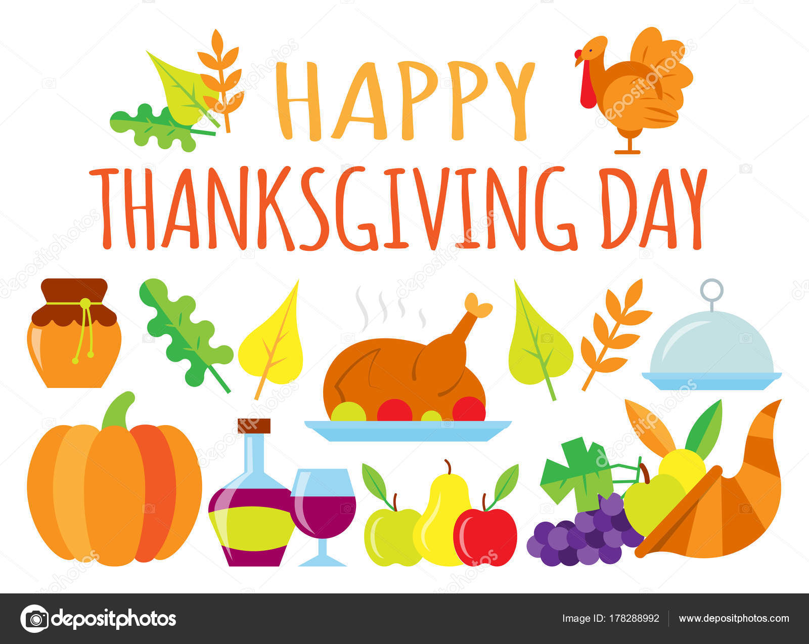 Colored Happy Thanksgiving Day Card Stock Vector C Suesse