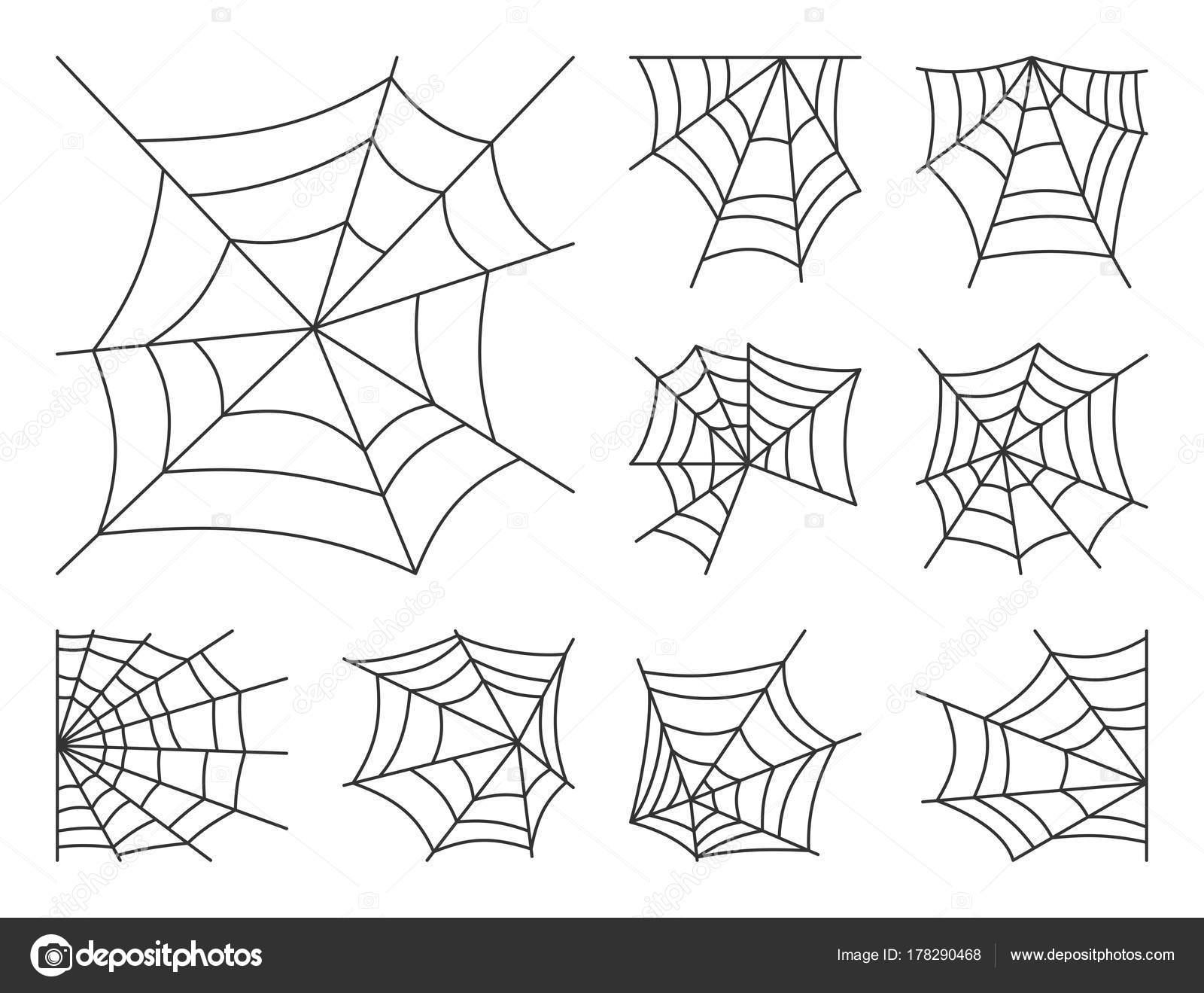 Spider Symbolsatz Web dünne Linie editierbare Schlaganfall ...