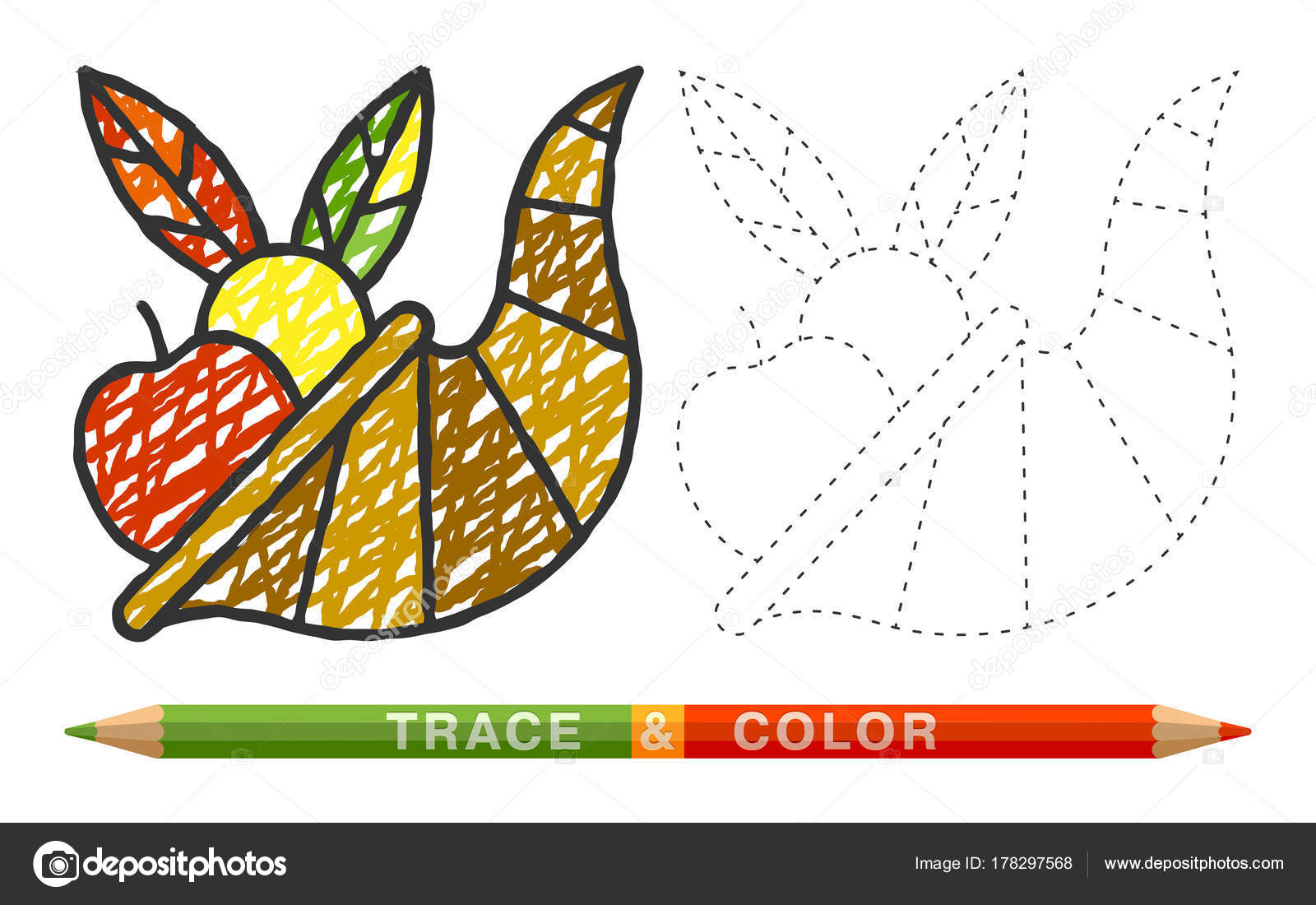 Dotted line and coloring crayon cornucopia icon — Stock Vector ...