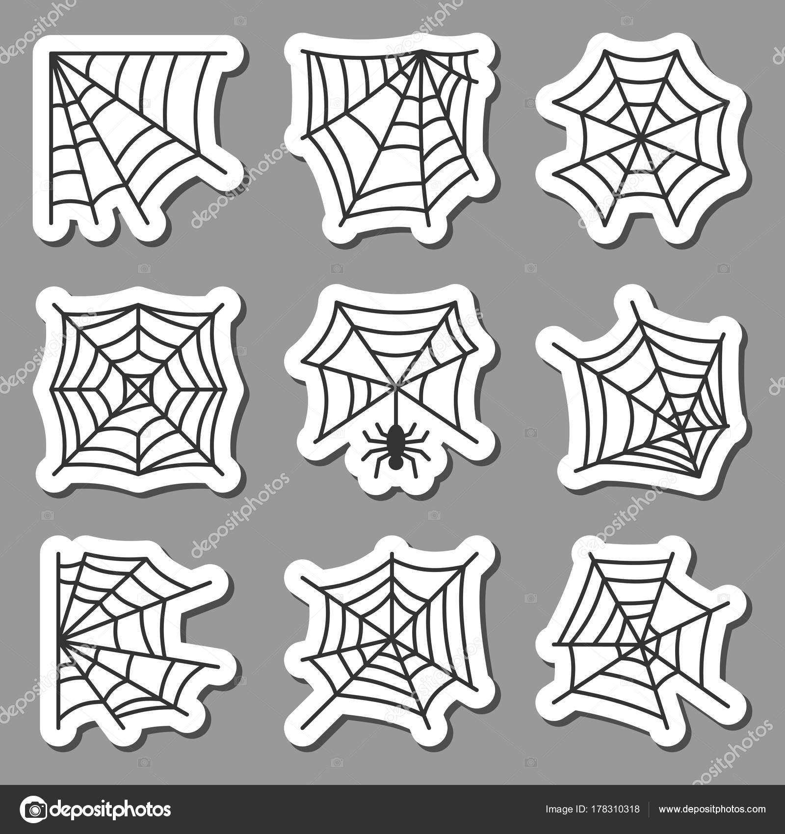 Spider Web Icon Sticker Set Black On White Stock Vector C Suesse
