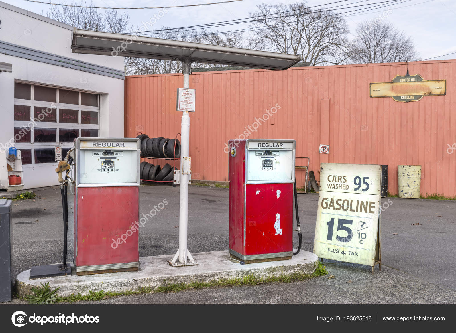 old car repair shop with a gas station, – Stock Editorial Photo ...
