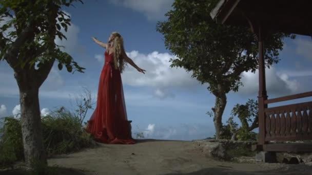 Mladá krásná žena s blond kudrnaté vlasy v elegantní dlouhé červené šaty pózují na útesu v blízkosti stromu s úžasným výhledem na oceán a nebe.