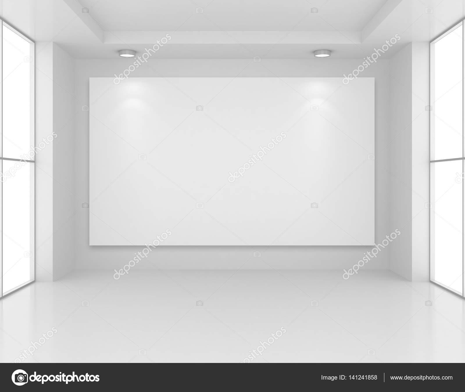 Galerie-Interieur mit leeren Rahmen an Wand und Lichter. 3D ...