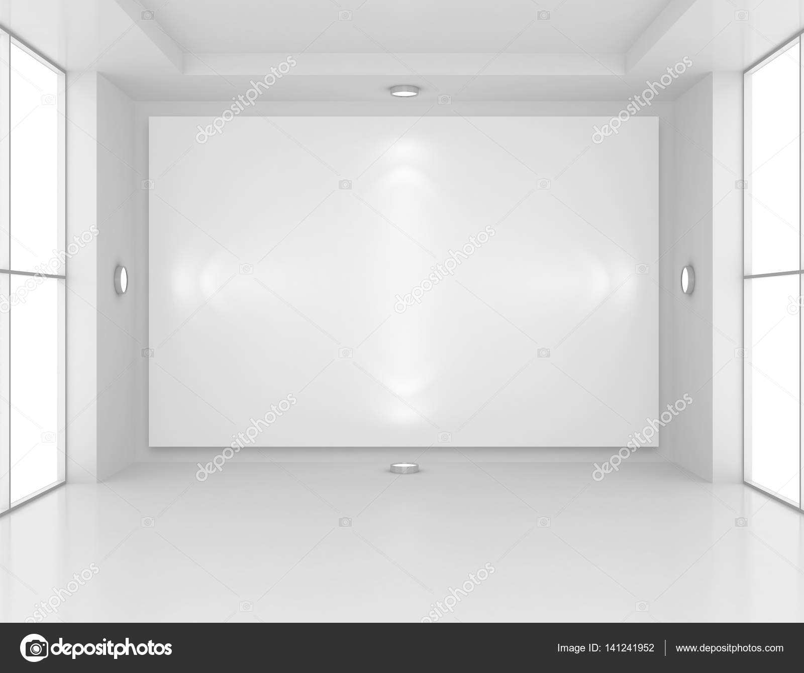 Gallery Interior with empty frame on wall and lights. 3d rendering ...
