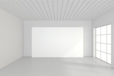 Large empty room with standing billboards. 3d rendering