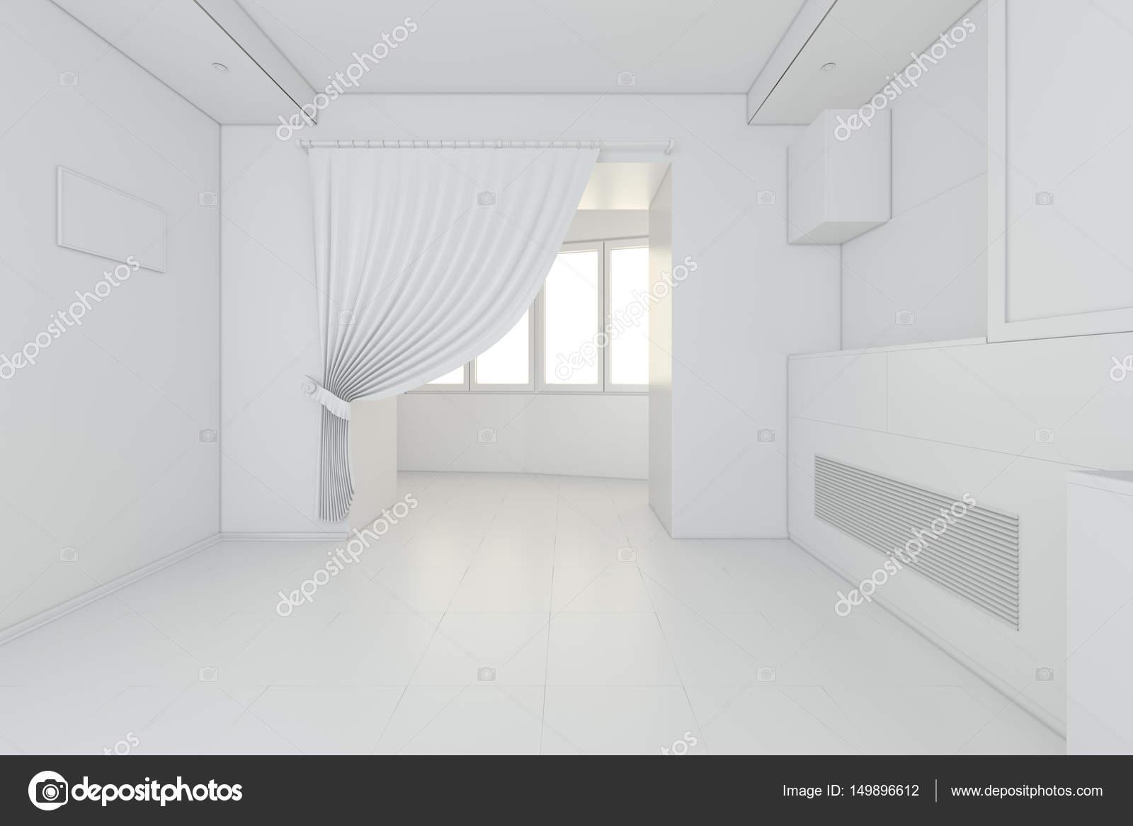Interno della nuova cucina bianca con piastrelle pavimento pulito