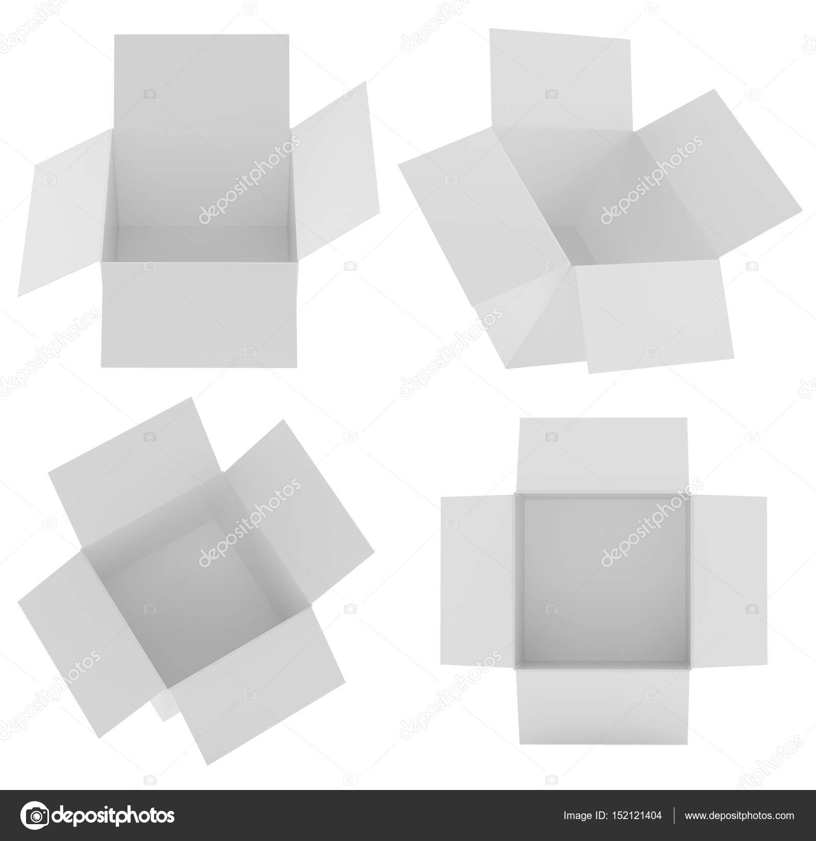 White Square Box Templates Set Isolated On White Background Paper