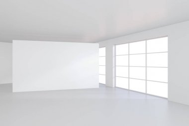 Large white billboard standing near a window in a white room. 3D rendering