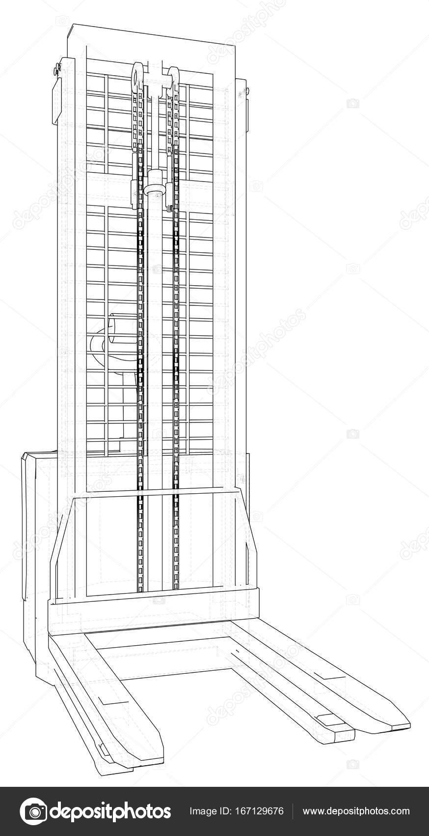 Carretilla elevadora de almacén. Marco de alambre. Eps10 formato ...