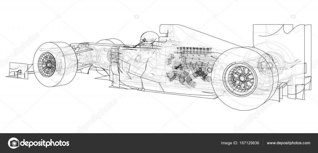 Fórmula 1. Dibujo abstracto. Marco de alambre. Eps10 formato. Vector ...